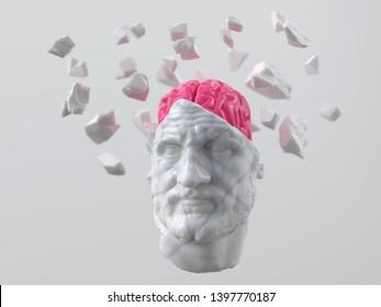 artificial brain in a broken head of an ancient man, 3d illustration