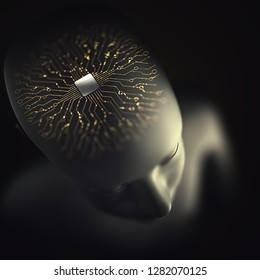 Artificial brain, microprocessor with electrical connections and binary pulses, the human nervous system. Concept of artificial intelligence and implants of artificial organs. 3D illustration.