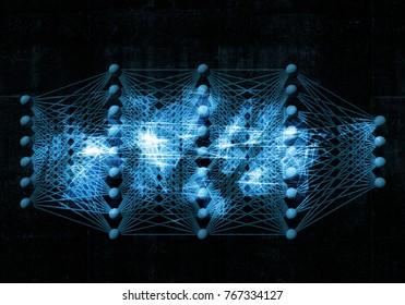 Artificial deep neural network, digital blue background, 3d illustration