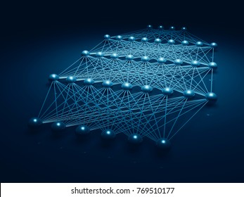 Artificial deep neural network structure, blue digital illustration with schematic model, 3d render
