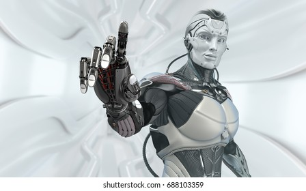 Artificial hand touching screen. Futuristic robot working with virtual hud interface. Electronic business concept art. 3d rendering