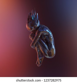 artificial human body covered with mesh, 3d illustration