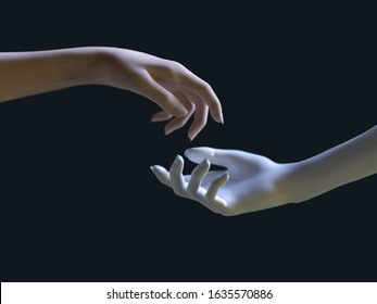 artificial and human hand reach for each other, 3d illustration