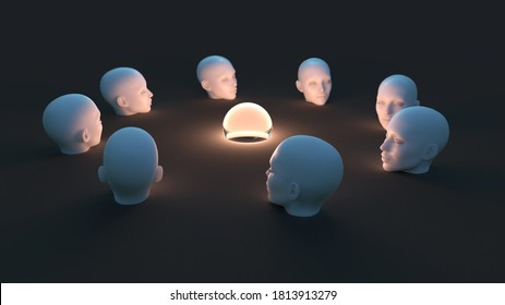 artificial human heads around the light sphere, 3d illustration