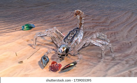 Artificial intelligence, abstract images of technologies of 2050, scorpion robot with rose made of glass. 3d illustration.