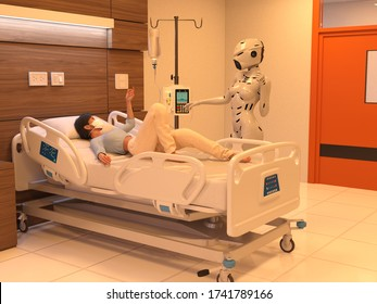 Artificial intelligence, abstract images of technologies from 2050, robots treat sick people in hospitals. 3D illustration.