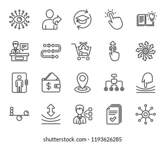 Artificial intelligence, Balance and Refer a friend line icons. Continuing education, Methodology and Exhibitors signs. Swipe up, Elastic and Click here symbols.