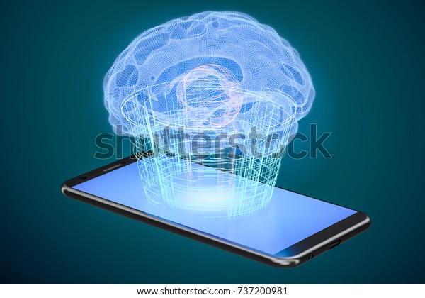 Artificial intelligence computer technology concept, 3D rendering