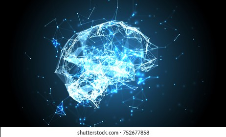 Artificial intelligence concept: blue plexus lines, dots and polygons forming a human brain. Blue abstract futuristic science and technology background. Depth of field settings. 3D rendering.