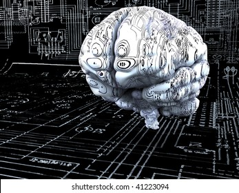 Artificial Intelligence concept. Brain over the mainboard or electronic circuits