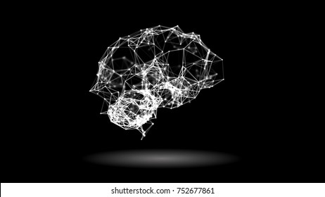 Artificial intelligence concept: plexus lines and dots forming a human brain. Abstract futuristic science and technology background. Depth of field settings. 3D rendering.