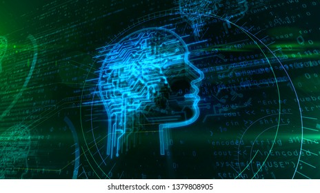 Artificial intelligence, deep machine learning and cyber mind concept 3d illustration. Face shape hologram with futuristic cybernetic brain on digital background. Deep brain stimulation metapho