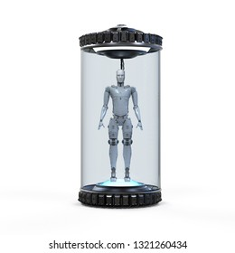 Artificial intelligence development concept with 3d rendering robot in glass capsule