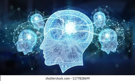 Artificial intelligence digital brain on blue server background 3D rendering