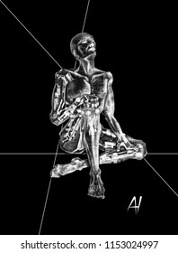 Artificial Intelligence dreaming as a robot, with circuitry in the form of a mechanical mesh, pistons and metallic contraptions; surrounded by a ghost-like shell, mimicking a human.