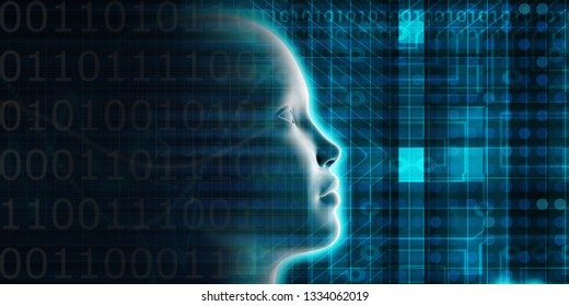 Artificial Intelligence Evolution with Digital Consciousness as Tech Concept 3D Render