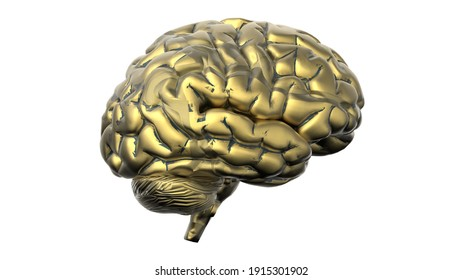 artificial intelligence golden brain machine learning 3d illustration