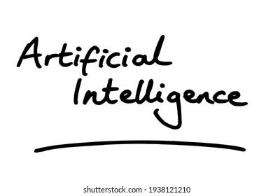 Artificial Intelligence, handwritten on a white background.