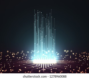 Artificial intelligence. Microchip connections, electric pulses and binary codes. 3D illustration.
