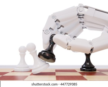 Artificial Intelligence Playing Chess Concept. Robot Beating Chess Pawn. White Robot Hand Moving Chess Pawn Closeup