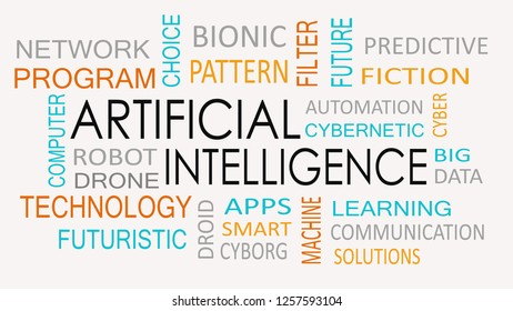 Artificial intelligence word cloud concept.