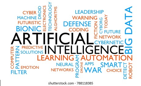 Artificial intelligence word tag cloud. 3D rendering, white variant.