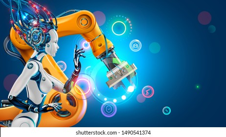 Artificial Intelligence works automation industry factory with smart robotic arms. Robot or cyborg woman with ai control industrial manufacturing via iot technology. Industry 4.0 revolution concept.