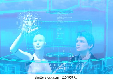 Artificial intelligence,3d illustration of business person and robot in virtual reality