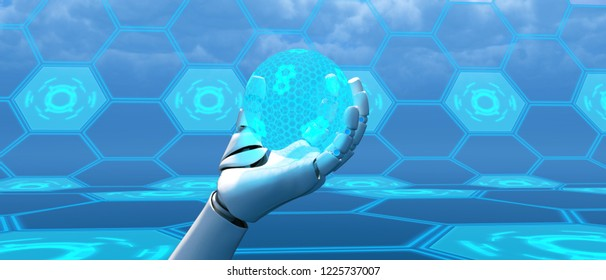 Artificial intelligence,3d illustration of robot holding holo sphere
