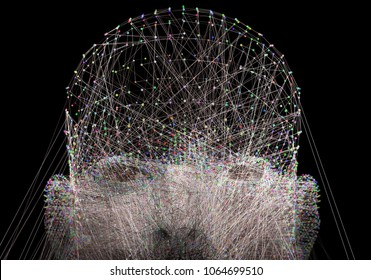 Artificial intelligence,Machine learning and computer science abstract concept.Science and technology background.3d illustration
