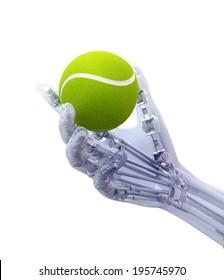 An artificial limb holding a tennis ball - prosthetics technology concept
