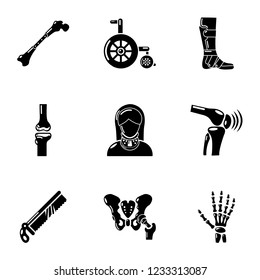 Artificial limb icons set. Simple set of 9 artificial limb icons for web isolated on white background