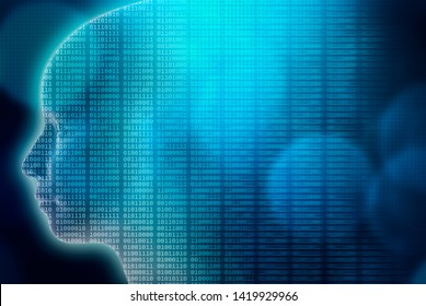 Artificial or Machine intelligence or AI illustration. 3d render human head profile with binary code. Transhumanism, advanced and futuristic technology, IT or computer science background or wallpaper