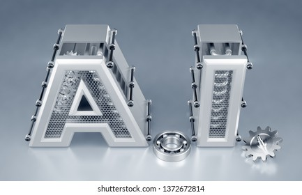 Artificial (Machine) Intelligence. Designed in techno-style capital letters composed into the abbreviation of A.I. on reflective background. 3d rendering graphics.