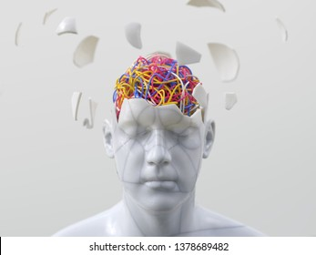 artificial man with wires in his head, 3d illustration
