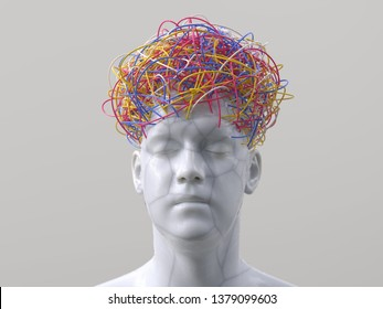 artificial man with wires instead of hair, 3d illustration