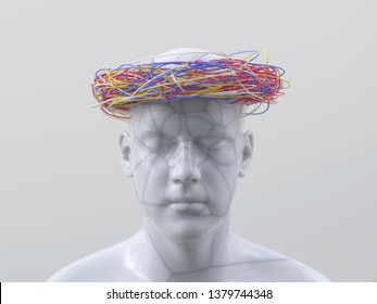 artificial man with wires on his head, 3d illustration