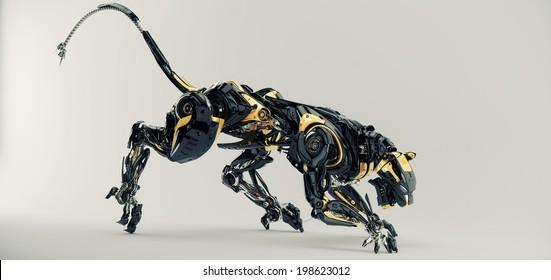 Artificial model of panther / Futuristic robotic predator panther 3d render