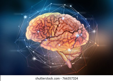 Artificial neural network. Computer intelligence based on the nerve cells of the human brain. Modern design concept on the topic of artificial intelligence. 3D illustration