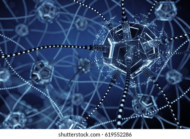 Artificial Neural Network. Neural nodes, connected together with a synaptic links in electronic cyberspace. 3D rendering image on the subject of 'Artificial Intelligence'.