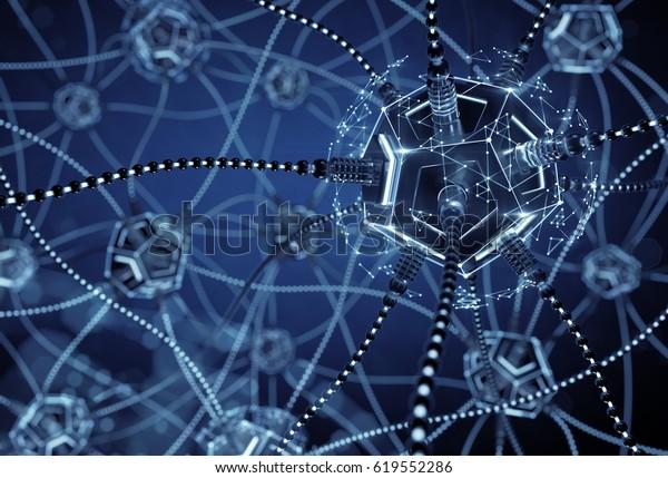 """Künstliches Neuronales Netzwerk. Neuronale Knotenpunkte, verbunden mit synaptischen Verbindungen im elektronischen Cyberspace. 3D-Rendering-Bild zum Thema """"Künstliche Intelligenz""""."""