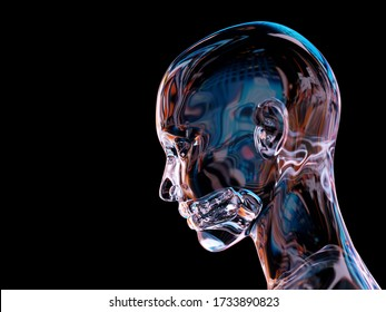 artificial person with glass body, 3d illustration
