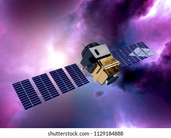 artificial satellite concept 3D rendering in the space