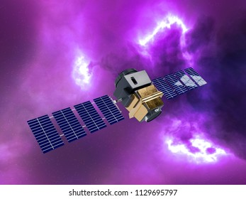 artificial satellite concept 3D rendering in the space purple nebula