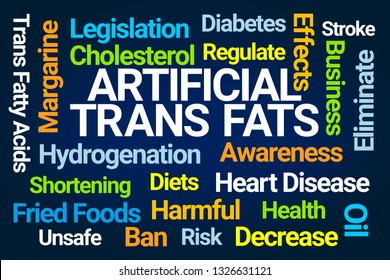 Artificial Trans Fats Word Cloud on Blue Background