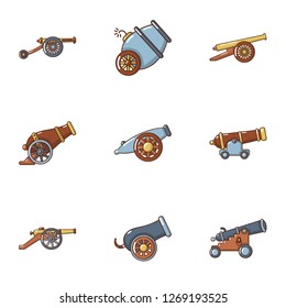 Artillery icons set. Cartoon set of 9 artillery icons for web isolated on white background