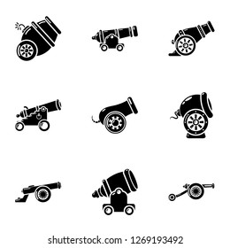Artillery installation icons set. Simple set of 9 artillery installation icons for web isolated on white background