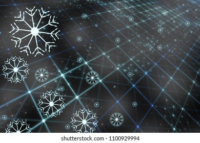 Artisitic blue colored digital computer network with artistic snowflakes and connected lines illustration. Winter decoration background.