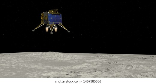 Artist depiction of the the Chandrayaan 2 lunar mission from India. The Vikram lander decending onto the Lunar surface(3d illustration). Some elements provided by NASA.