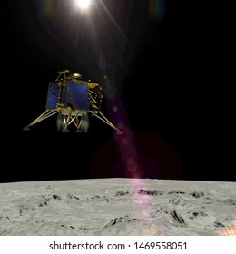Artist depiction of the the Chandrayaan 2 lunar mission from India. The Vikram lander descending onto the Lunar surface (3d illustration). Some elements provided by NASA.